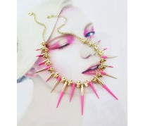 Колье Metal Spikes for ASOS pink